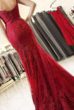 Mermaid Spaghetti Straps Burgundy Lace Appliques Prom Dresses Long Formal Dress JS455