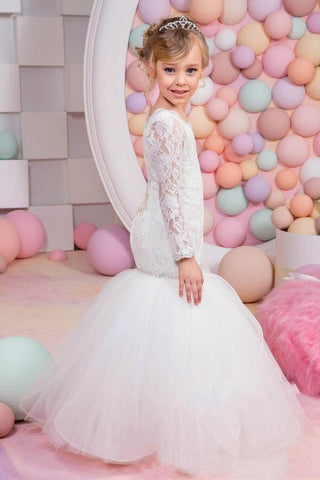 Mermaid White Long Sleeves Lace Tulle Beaded Jewel Neck Flower Girl Dresses SME549