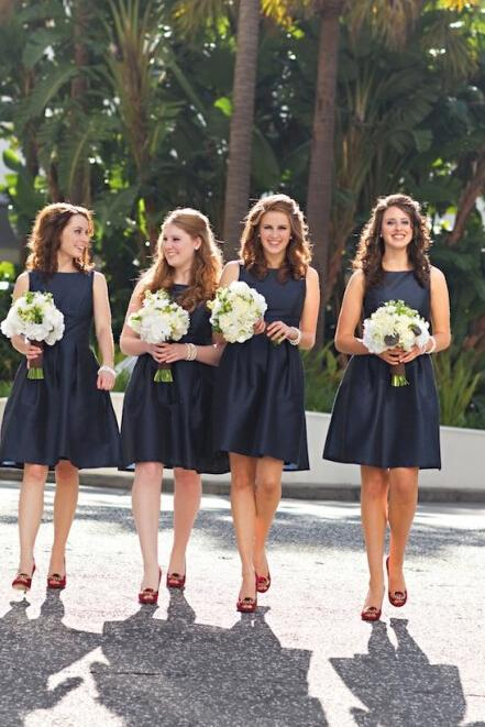 Mini A line Dark Navy Jewel Sleeveless Above Knee Satin Short Bridesmaid Dresses JS959