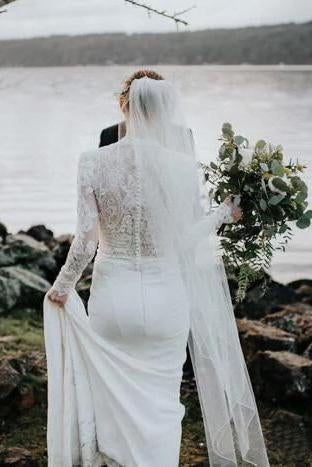 Modest Long Sleeve Lace Mermaid Wedding Dresses Rustic Bridal Gown Beach Bridal Dress W1076
