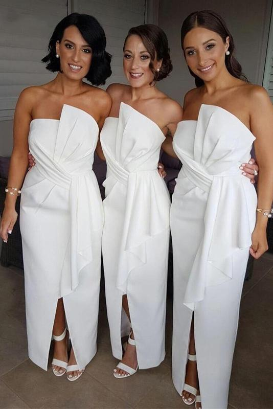A Line Satin Strapless Ruffles Long White With Split Bridesmaid Dresses
