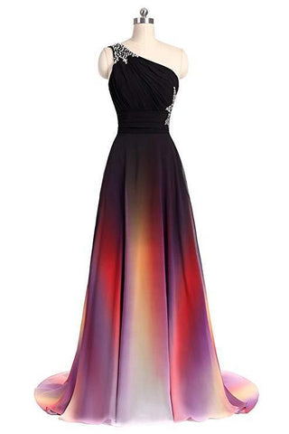 One Shoulder Ombre Chiffon Prom Dresses Lace up A Line Beads Ruffles Prom Gowns SME531