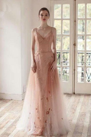 Open Back Spaghetti Straps Prom Dresses Ombre Tulle V Neck Pink Beauty Prom Gowns SMEP1048