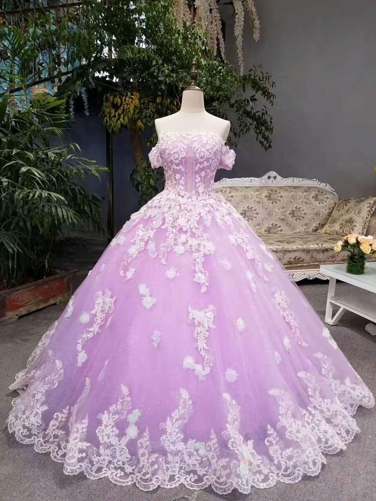 New Arrival Floral Wedding Dresses A-Line Floor Length Lace Up Off The Shoulder With Beads And Appliques JS786