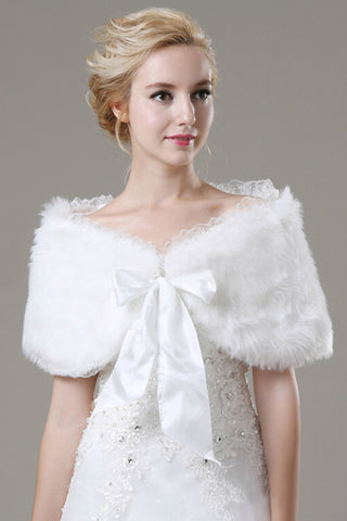Fabulous Faux Fur Wedding Wrap With Bow Knot
