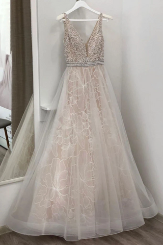 Deep V Neck Sleeveless A Line Lace Wedding Dresses With Beading, Tulle Bridal Dresses