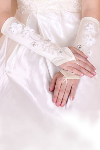 Cheap Elegant Elastic Satin Elbow Length Bridal Gloves #BG09