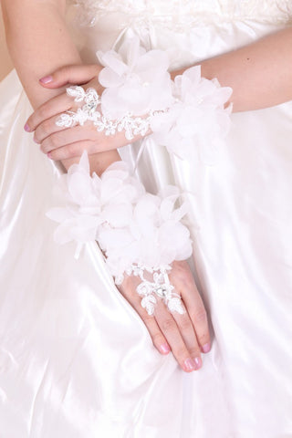 Tulle Wrist Length Bridal Gloves #BG20