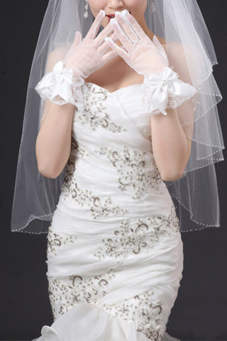 Cheap Tulle Wrist Length Bridal Gloves #BG07