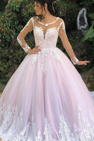Princess Long Sleeves A-Line Pink Wedding Dresses With Appliques, Ball Gown Bridal Dresses