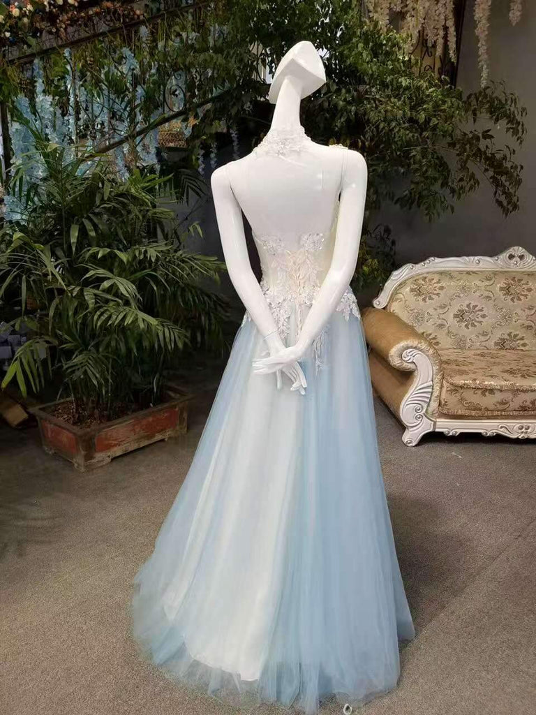 New Arrival A-Line High Neck Tulle Prom Dresses Floor Length Lace Up SME789