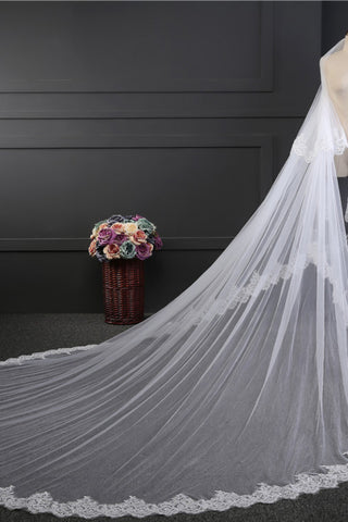 Lace Edge 3*3.5 Meters Wedding Veil With Applique