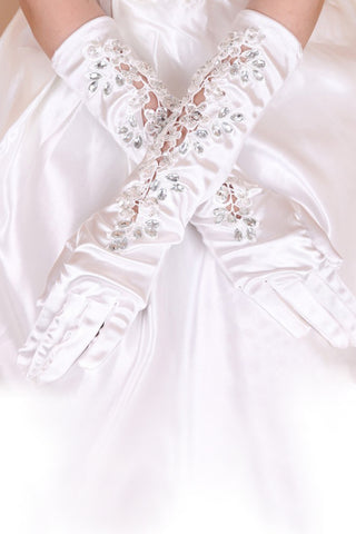Beautiful Ealstic Satin Elbow Length Bridal Gloves #BG21