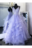 Princess Tulle Long Prom Gown Appliques Formal Dresses Ruffles