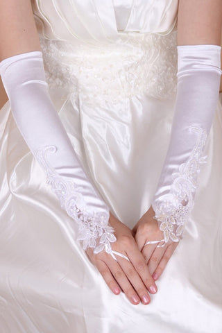 Elegant Elastic Satin Opera Length Bridal Gloves #BG013
