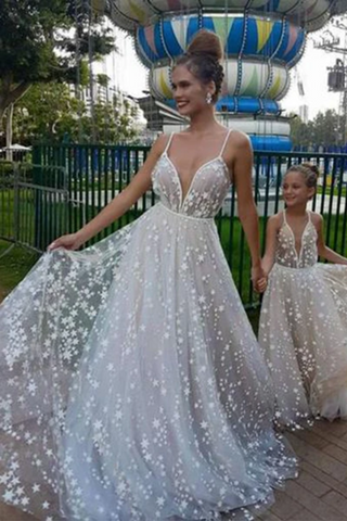 Spaghetti Straps V Neck Sparkly Wedding Dress With Stars, Floor Length Long Prom Dress
