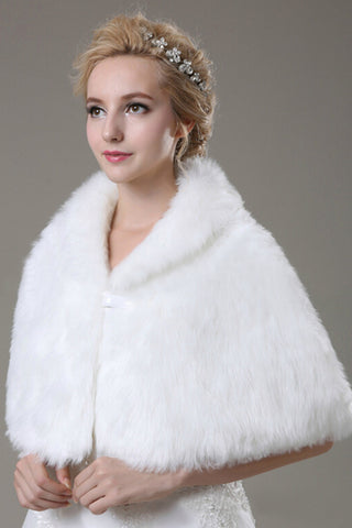 Concise Faux Fur Wedding Wrap