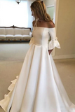 Simple Half Sleeves A Line Wedding Dresses, Elegant Sweep Train Wedding Dresses
