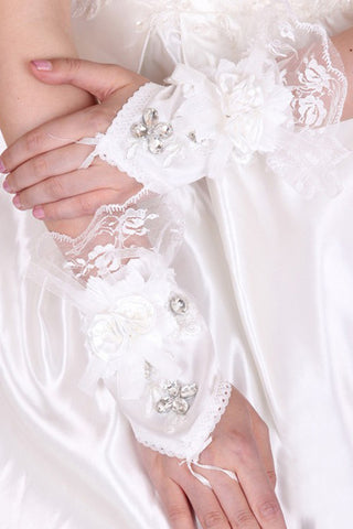 Elastic Satin And Lace Wrist Length Bridal Gloves #BG06