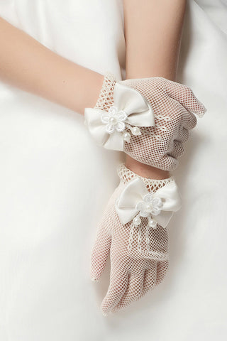 Lace Wrist Length Wedding Flower Girl Gloves #BG16