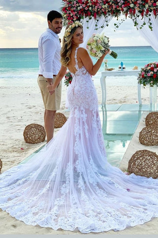 Mermaid Spaghetti Strap Wedding Dresses With Chapel Train Tulle Appliques
