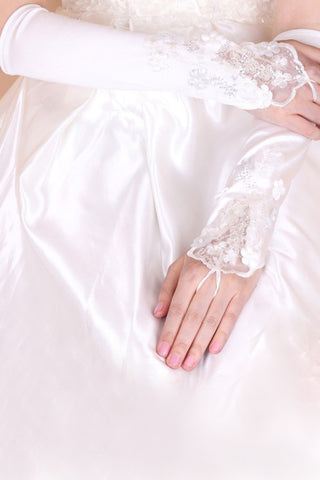 Elbow Length Elastic Satin With Appliques Bridal Gloves #BG04