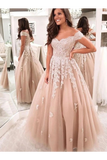 Charming Ball Gown Tulle Off The Shoulder Formal Prom Dresses With Appliques