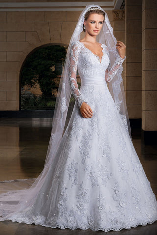 Attractive Wedding Veils One-Tier Chapel Length With Applique