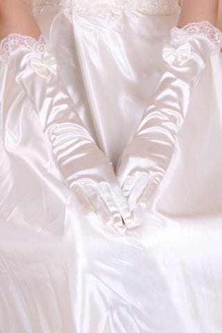 Elastic Satin Elbow Length Bridal Gloves #BG21