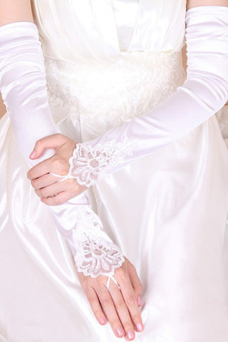 2021 Elastic Satin Opera Length Bridal Gloves #BG13