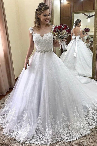 Ball Gown Glitter Princess V-Back A-Line White Wedding Dresses With Bowknot