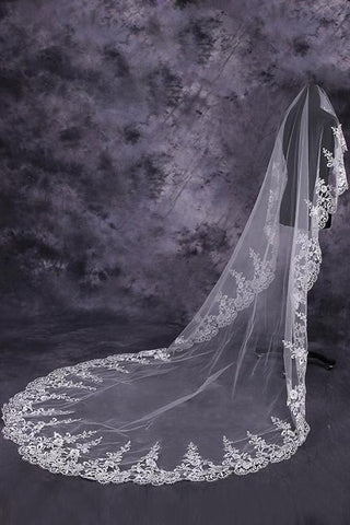 Gorgeous One-Tier Cathedral Bridal Veils With Applique SME0022