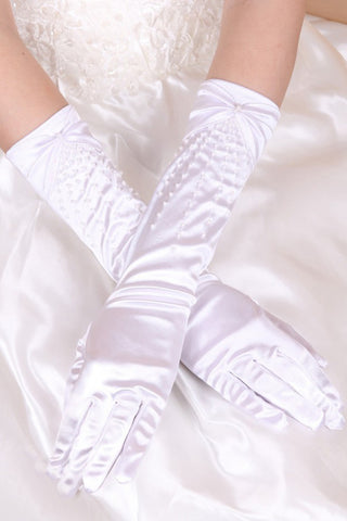 2021 Ealstic Satin Elbow Length With Beads Bridal Gloves #BG14