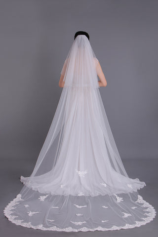 Gorgeous Two-Tier Cathedral Bridal Veils With Applique