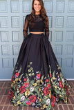A line Two Piece Black Long Sleeve Prom Dress With Floral Print Skirt Evening Dresses JS672