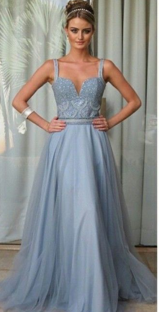 2021 New Arrival Straps Tulle With Beading Prom Dresses Sweep