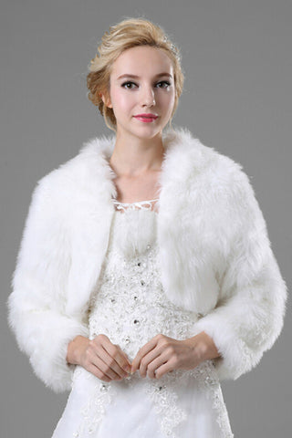 Concise Long Sleeves Faux Fur Wedding Wraps