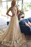 High Neck Lace Wedding Dresses A Line With Applique Court Train