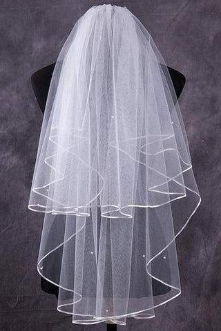 Two-Tier Finger-Tip Bridal Veils With Ribbon Edge SME0023