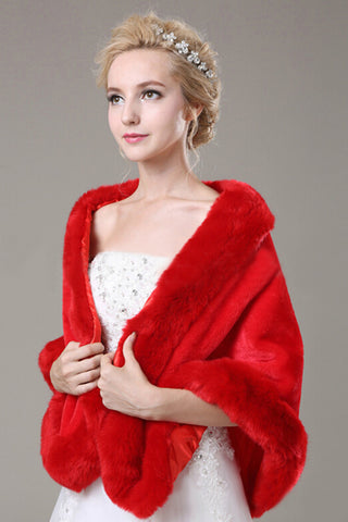 Fabulous Red Faux Fur Wedding Wrap