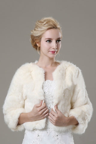 3/4 Length Sleeve Faux Fur Wedding Wrap