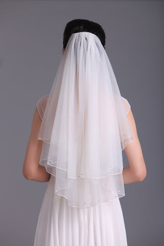 Two-Tier Elbow Length Bridal Veils With Beads