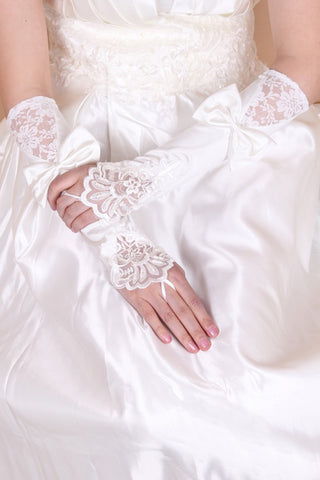 Beautiful Elastic Satin And Lace Elbow Length Bridal Gloves #BG10
