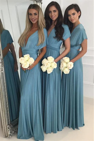 Deep V-neck Convertible Bridesmaid Dresses Cheap | Floor Length Sexy Blue Chiffon Wedding Party Dress