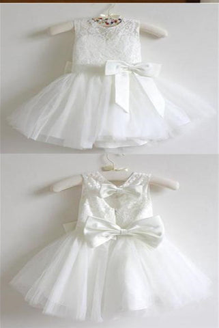 Ankle-length Sashes/Ribbons Scoop Neck White Lace Tulle Flower Girl Dresses SME545
