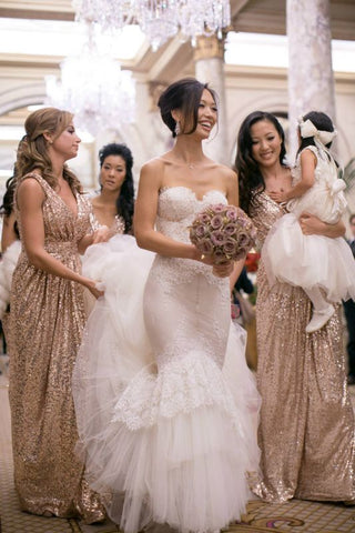 Popular Cheap V-Neck Sequin Long Bridesmaid Dresses