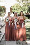 Simple Spaghetti Straps Criss-Cross Straps Back Long Bridesmaid Dresses
