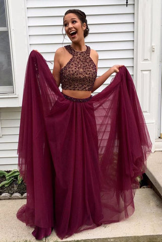 Stylish Burgundy Two Pieces A-line Beading Long Wedding Party Gown Cocktail Formal Wear pst1405
