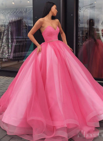 Ball Gown Sweetheart Prom Dress, Princess Floor Length Tulle Quinceanera