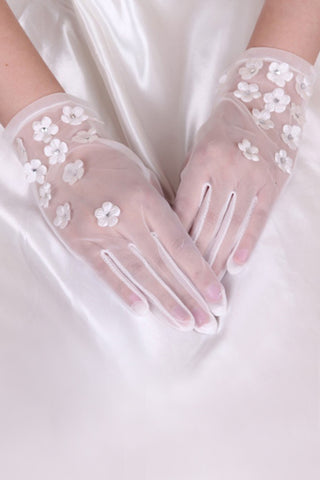 2021 Tulle Wrist Length Bridal Gloves #BG12